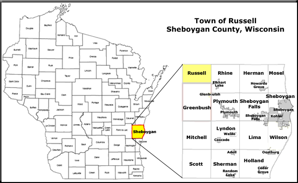 Town Russell & Sheboygan County Map